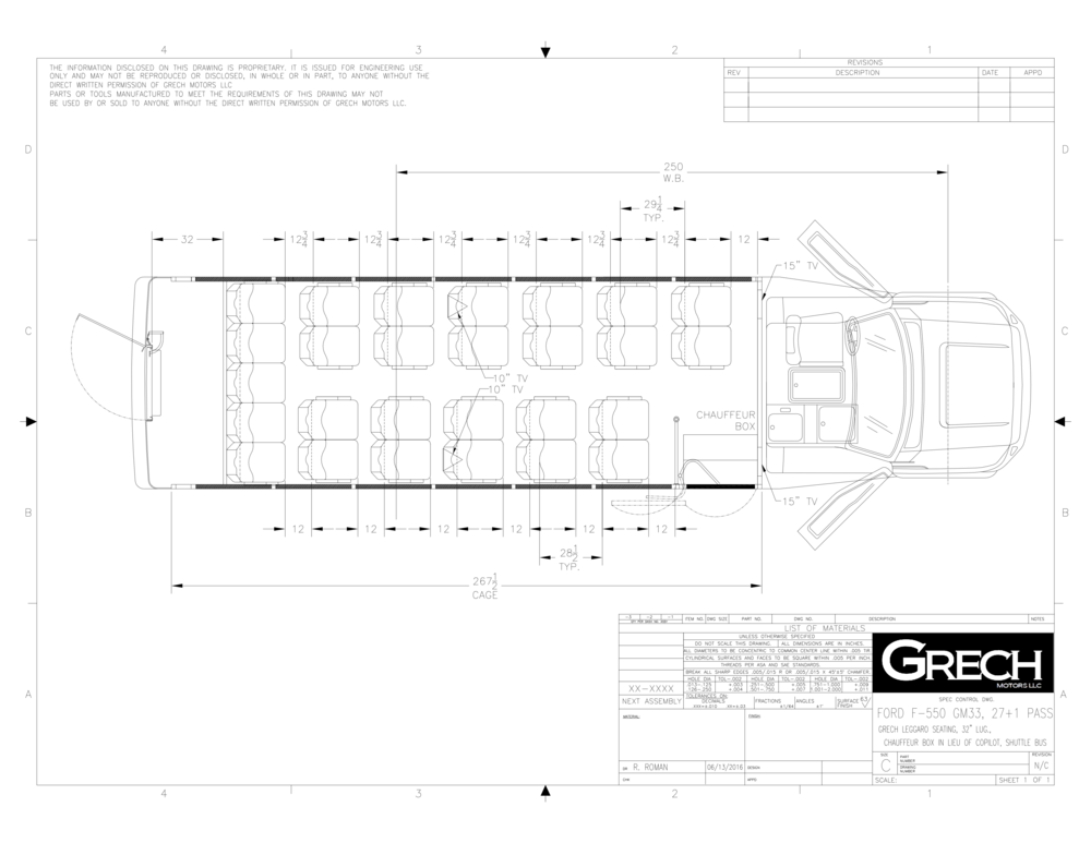F-550 GM33 27+1, Grech Leggero Seating, 32in Lug, Chauffeur Box In Lieu Of Copilot