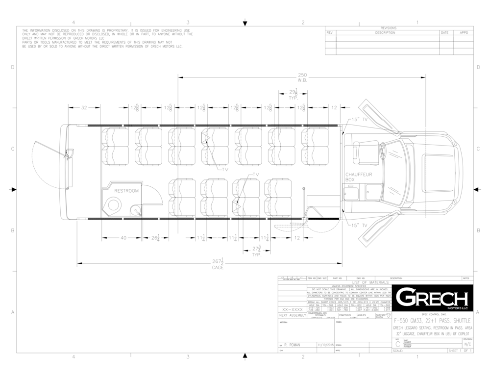 F-550 GM33 22+1, Grech Leggaro Seating, Restroom In Pass. Area, 32in Lug., Chauffeur Box In Lieu Of Copilot