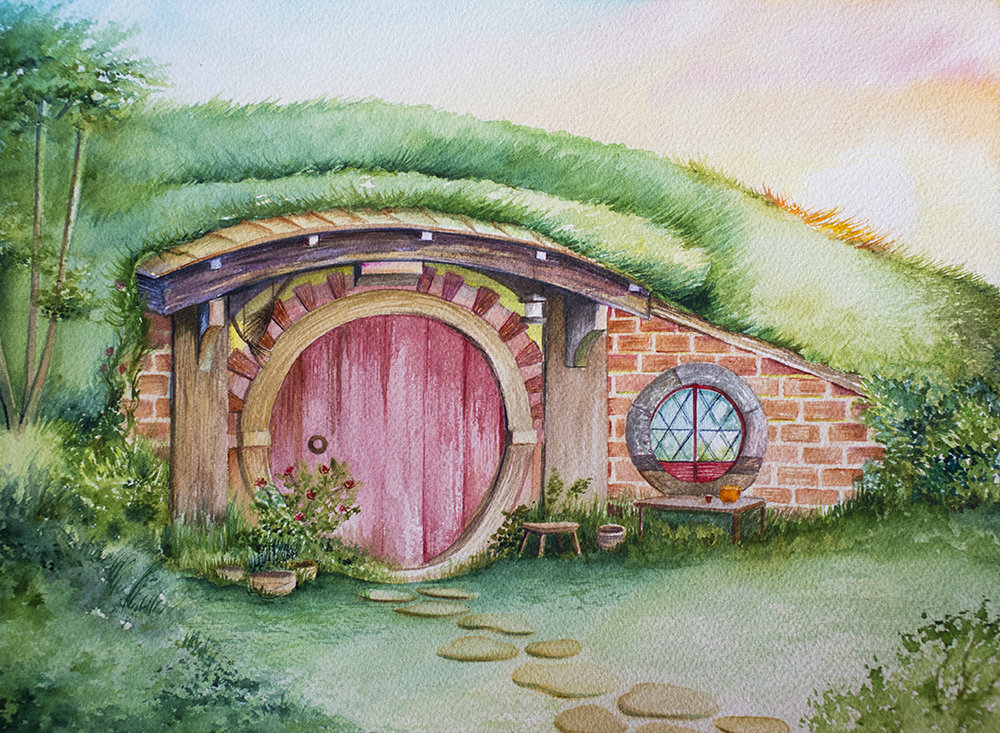 Hobbit Home 3, Watercolor