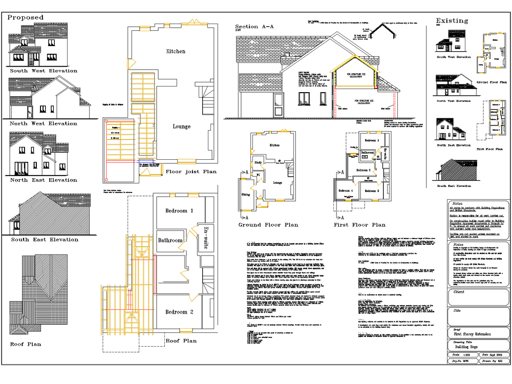 First storey extension plan for planning and building regulation.