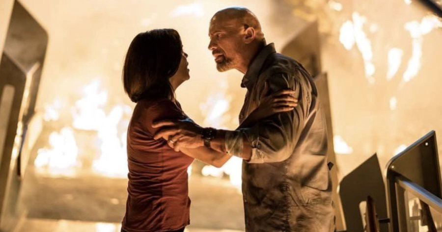 Dwayne Johnson & Neve Campbell in 2018's ' Skyscraper.'