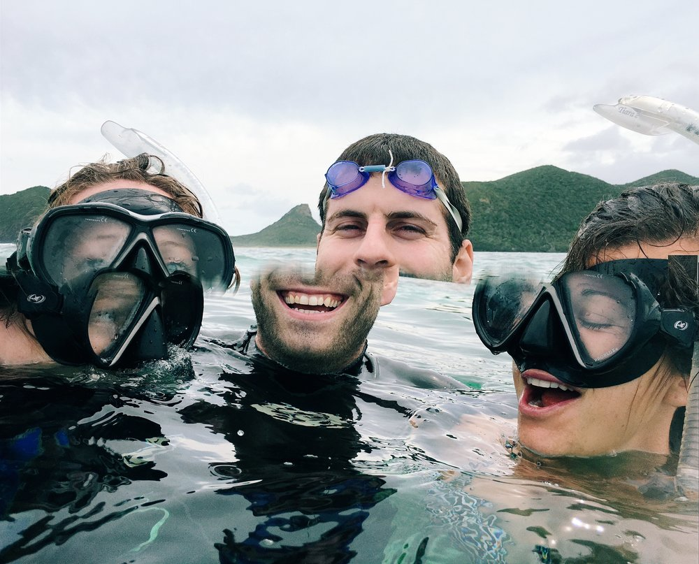 Snorkelling on Day 1 with Zach and Danielle.