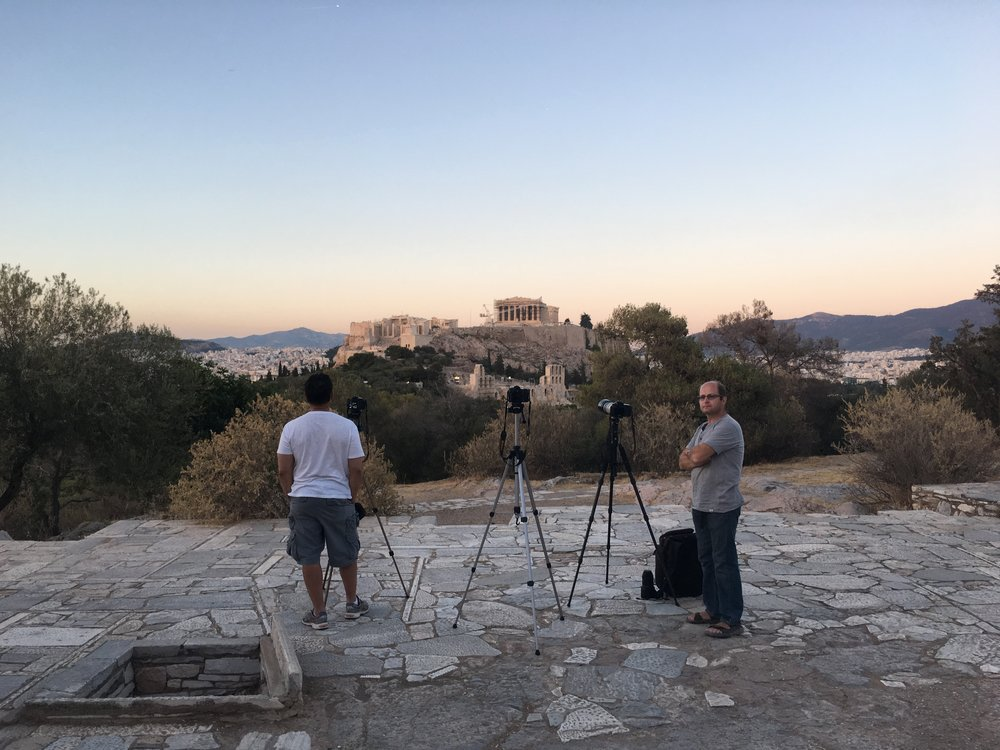 Waiting for the sun to set over the Acropolis. (PS - mine was bigger than theirs)
