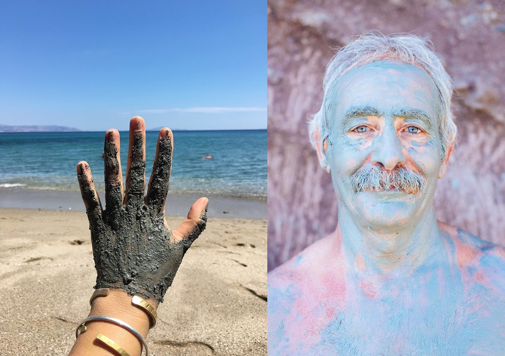 Testing the mineral properties of a certain clay on a Greek beach - and the resulting image I shot of a Frenchman who came along and slathered himself in the same clay