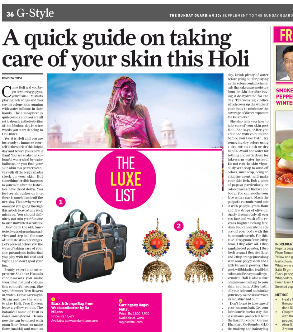 Ragini Mittal Jewelry in THE LUXE LIST for the SUNDAY GUARDIAN NEWSPAPER