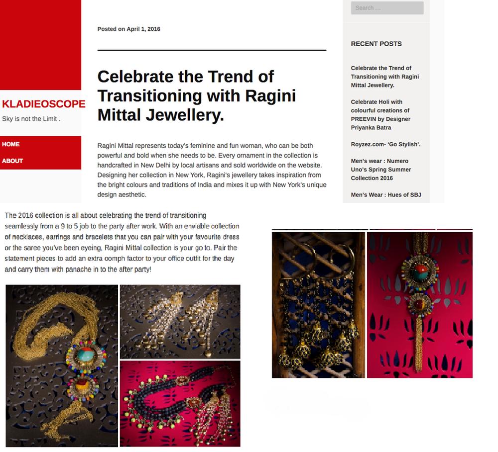Celebrate the Trend of Transitioning with Ragini Mittal Jewelry @Kladieoscope