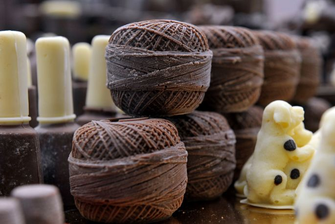Choclolate balls of string on display during the Chocolate Show at Olympia's National Hall, London. Photograph: Nick Ansell/PA Wire