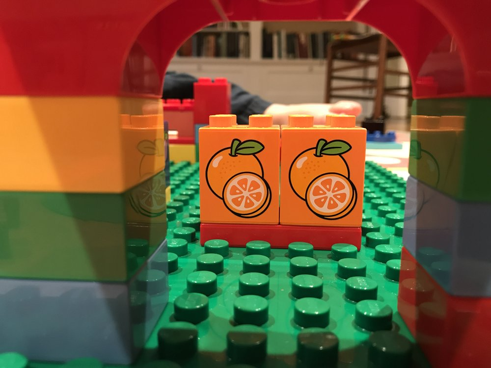 A view inside the Lego grocery store I built with a friend this week. He's two years old.