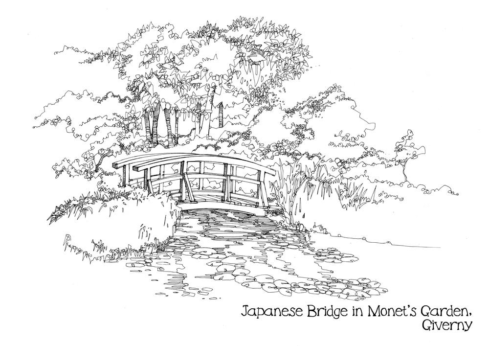 japanese bridge in monets gardenjpg japanese garden bridge drawing - Japanese Garden Bridge Drawing