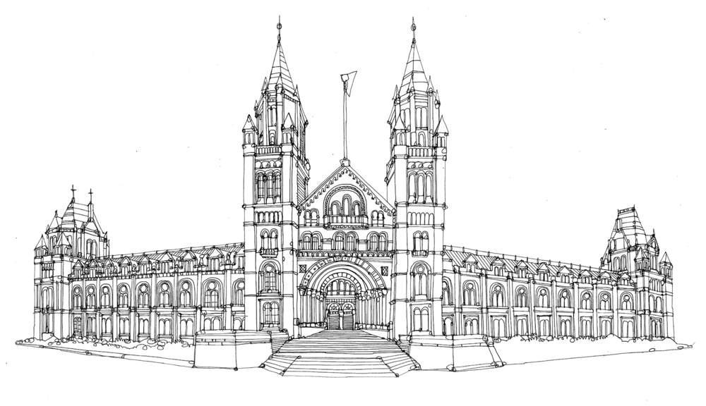 Line Drawing Of The Natural History Museum In London