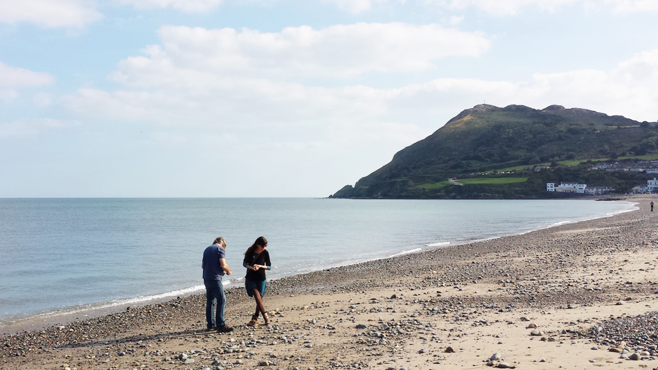 My father and I on the Irish Sea, hounding the beach in Bray, 2014