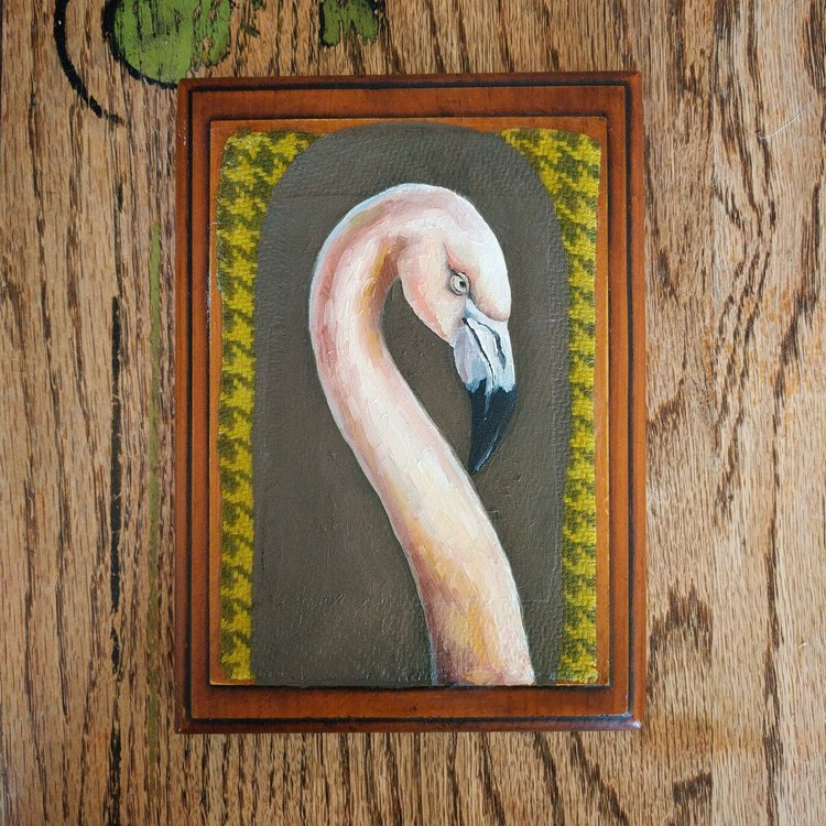 """Bill is Single and Ready to Mingle""  5x7 oil and textile on recyled wood, 2017"