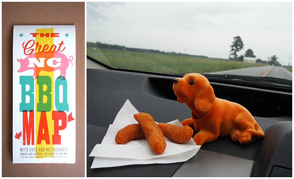 Our trusty road trip companion, Clementine, enjoying a helping of hushpuppies.