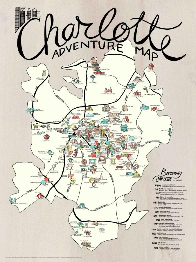 Map Of Charlotte Nc MAP + POSTER SET | Charlotte Adventure — EDIA Maps . NC + SC food  Map Of Charlotte Nc