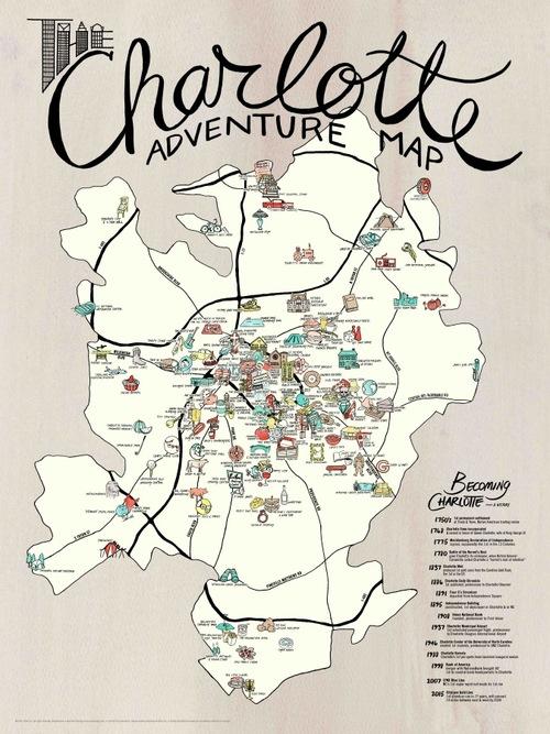 MAP + POSTER SET   Charlotte Adventure — EDIA Maps . NC + SC food ...