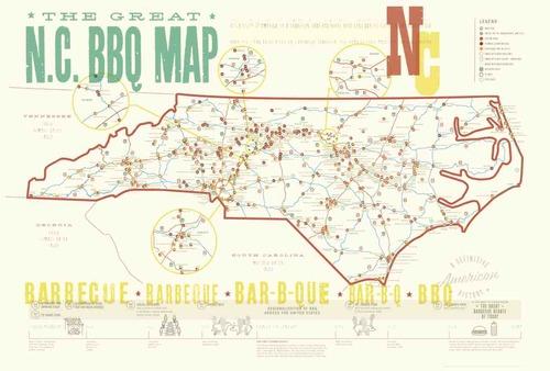NC BBQ Poster Nd Edition EDIA Maps NC SC Food - Maps of nc
