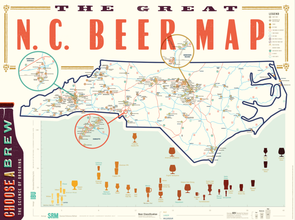 Great NC Beer Map // ediamaps.com