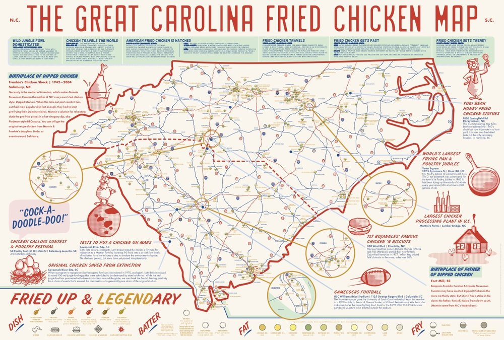 Great Carolina Fried Chicken Map // ediamaps.com
