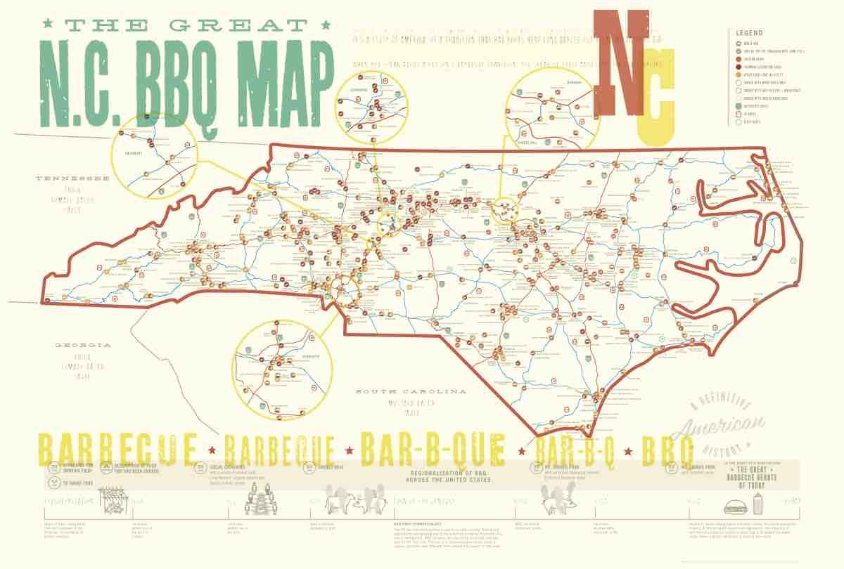 Poster | NC BBQ — EDIA Maps . NC + SC food & adventure maps