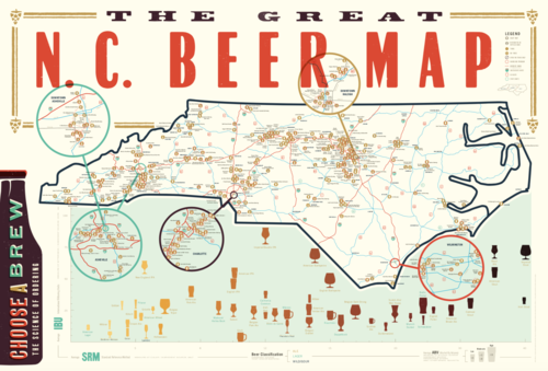 Poster | NC Beer — EDIA Maps . NC + SC food & adventure maps