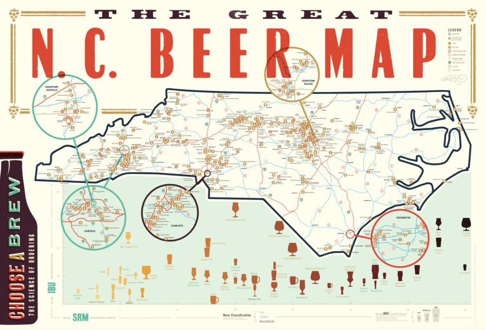 Poster | NC Beer — EDIA Maps . NC + SC food & adventure maps