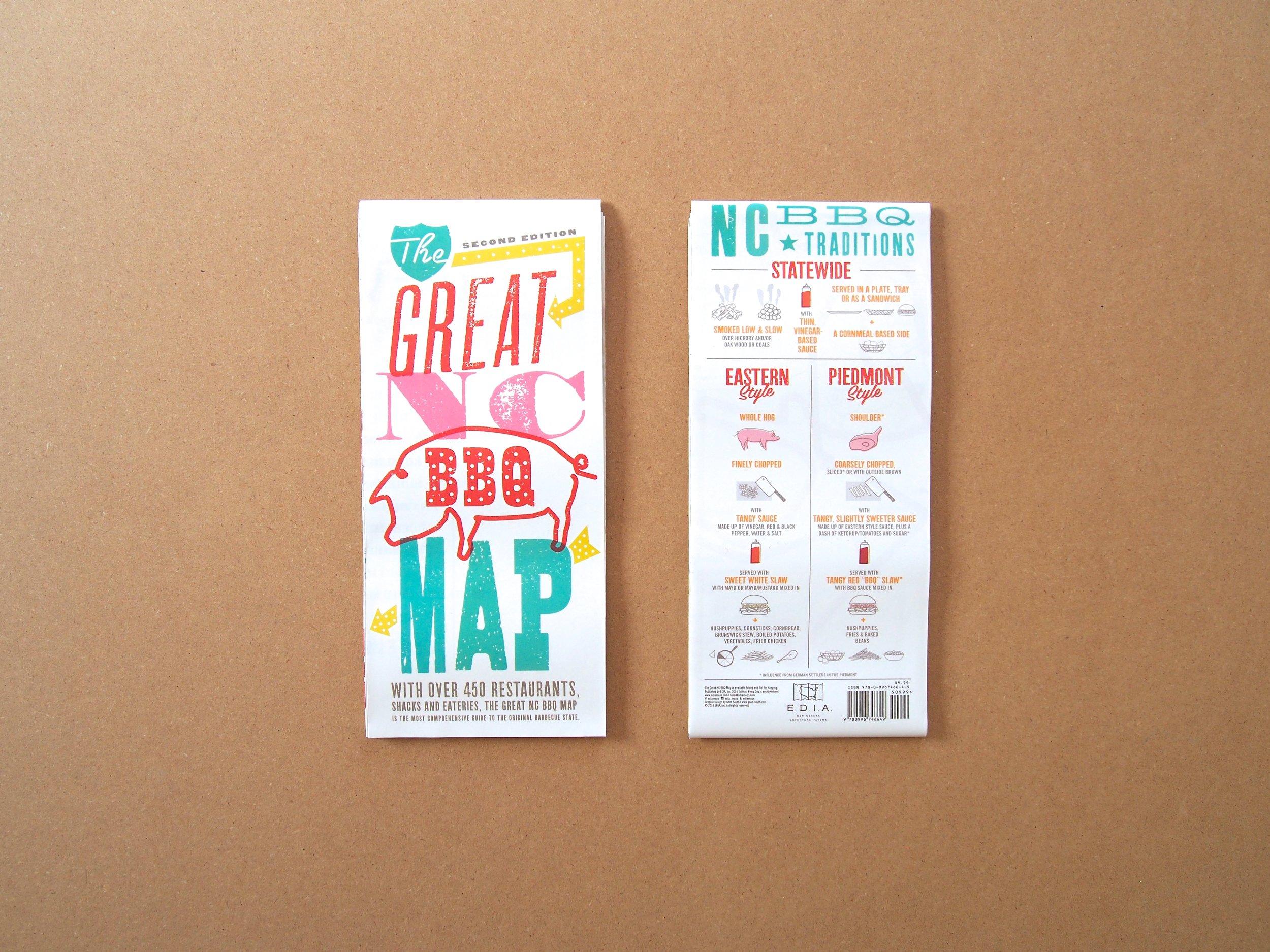 Road Map Nc Bbq Edia Maps Nc Sc Food Adventure Maps