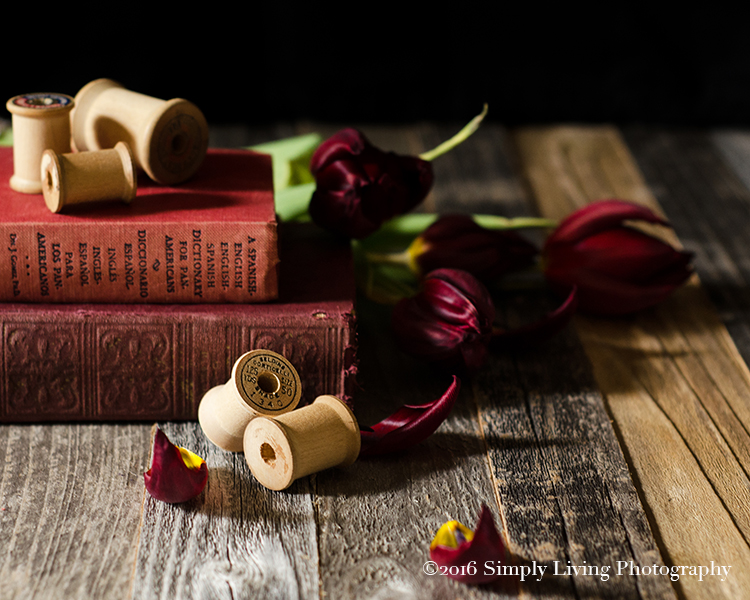 Still Life Photography| Red Tulip | Bobbins | Antique Books | Lisa Kerner | Simply Living Photography