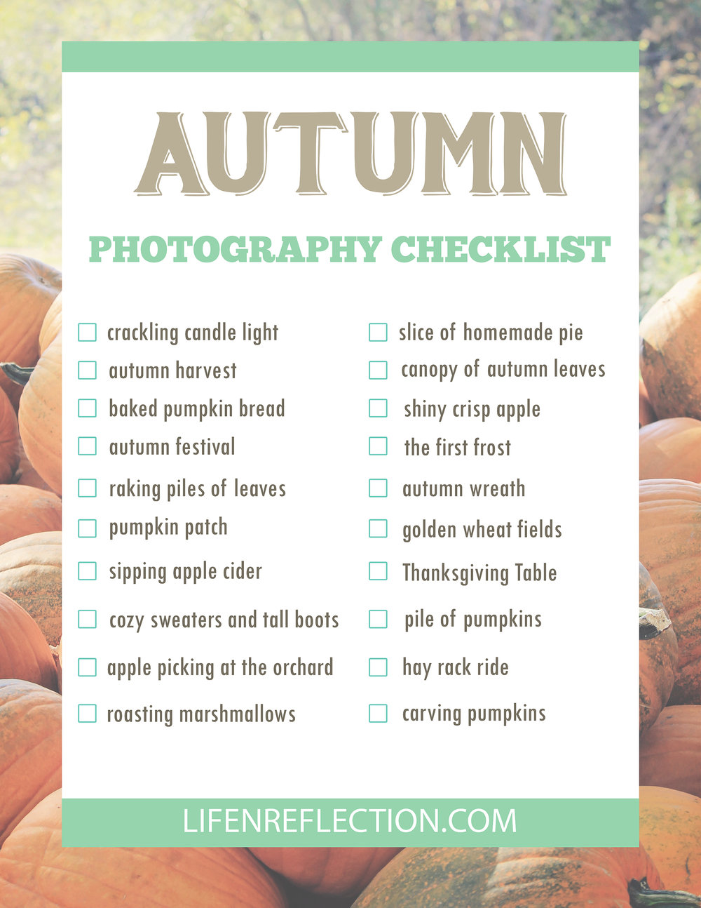 Life-n-Reflection | Autumn Photography Checklist