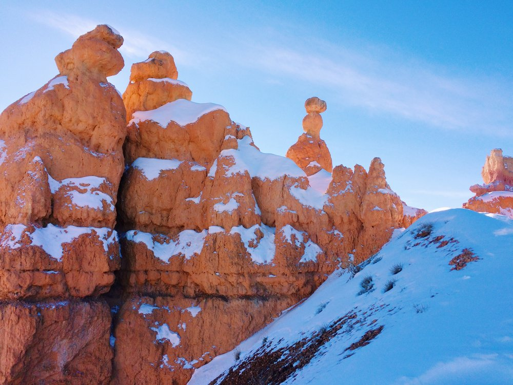 Snow capped hoodoos - winter in Bryce Canyon
