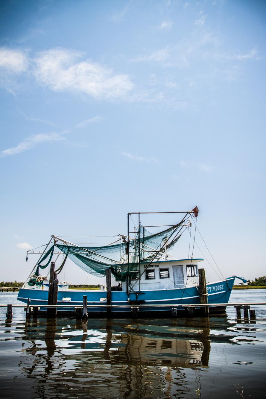Docked shrimping boat during the BP oil spill.