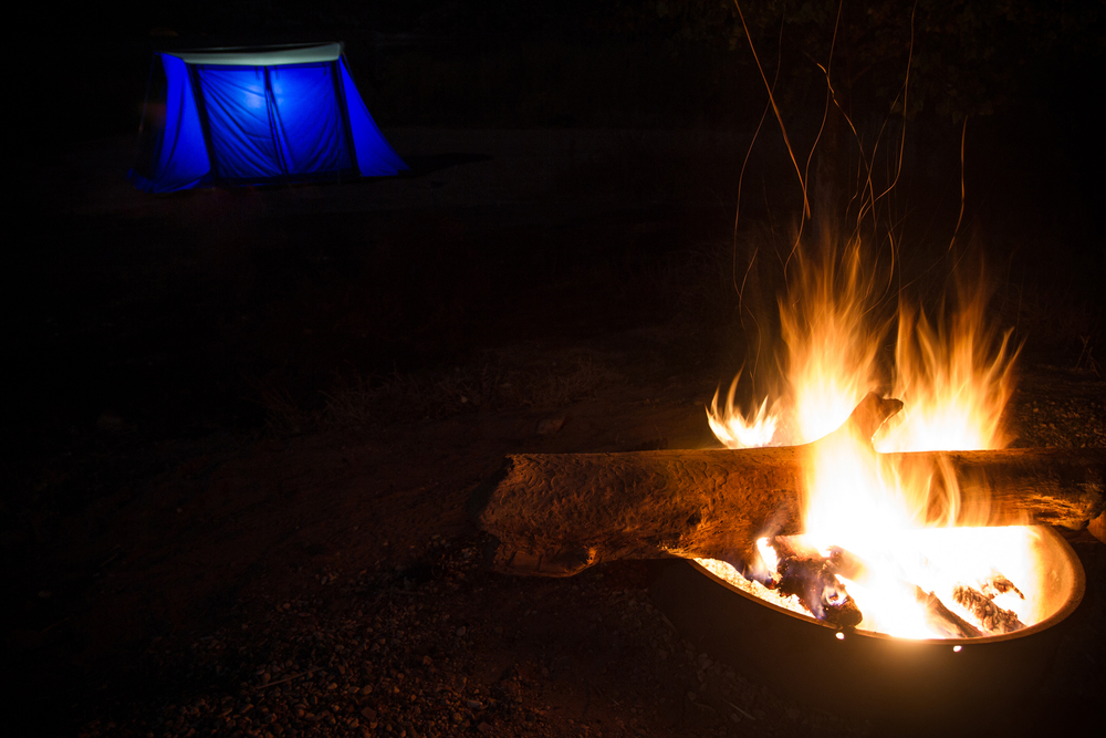 Glowing tent and our fire.