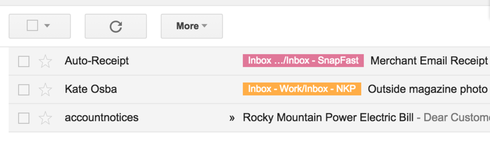 Using multiple tags and address forwarding helps me keep my inbox straight.