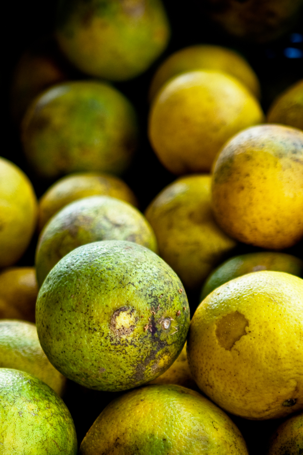 Bundle of yellow and green limes.