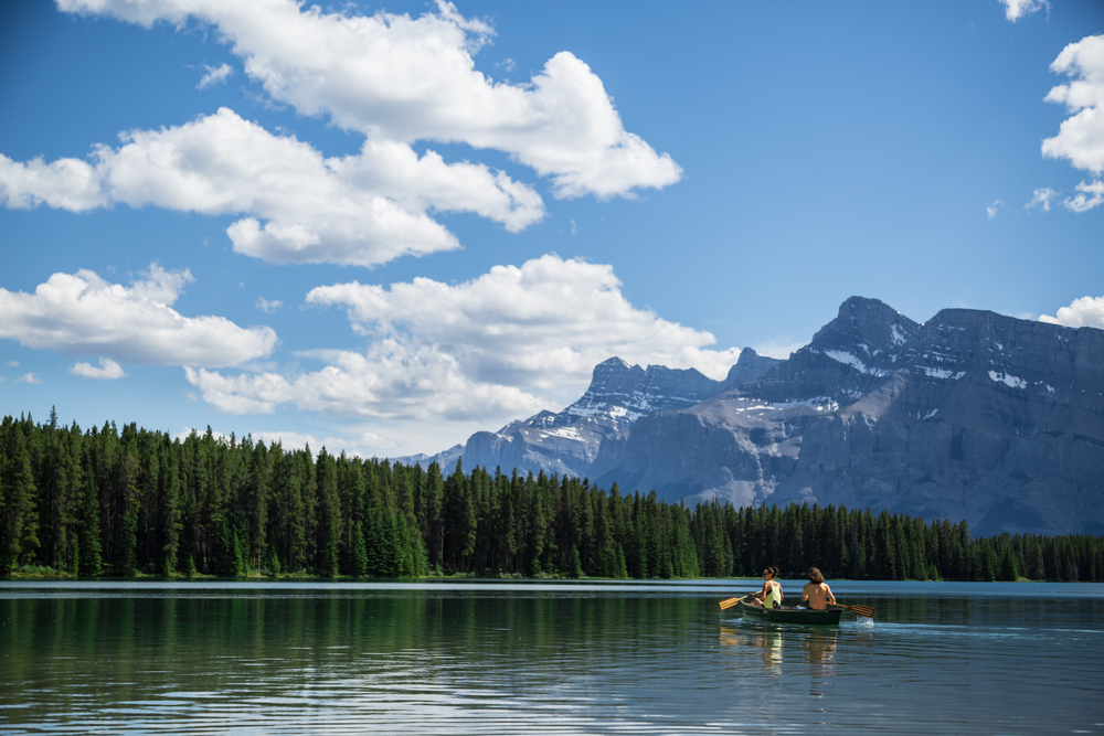 Paddling on Two Jack Lake.