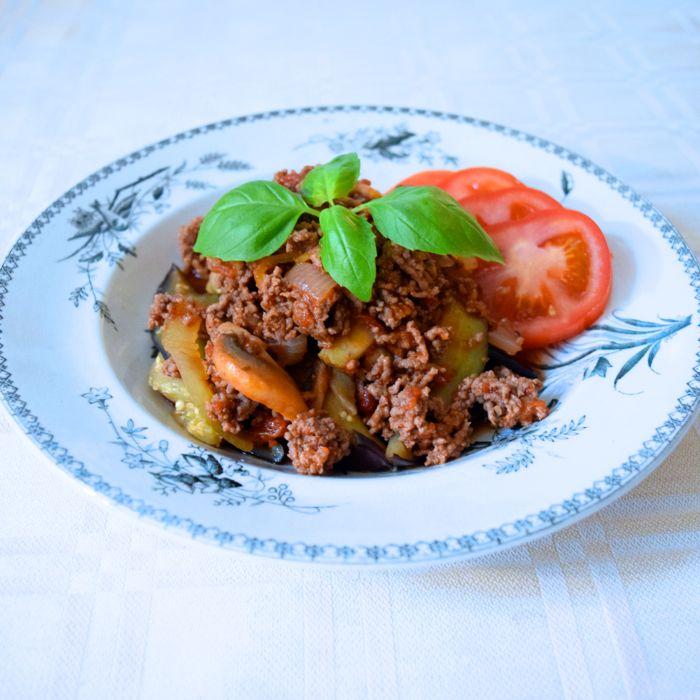 auberginssnören med köttfärssås
