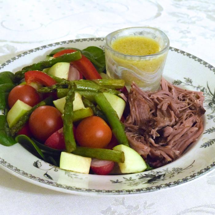 pulled pork med senapsvinägrett