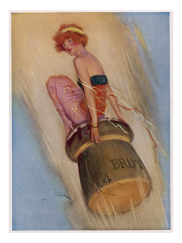 1915 English magazine illustration of a woman riding a Champagne cork