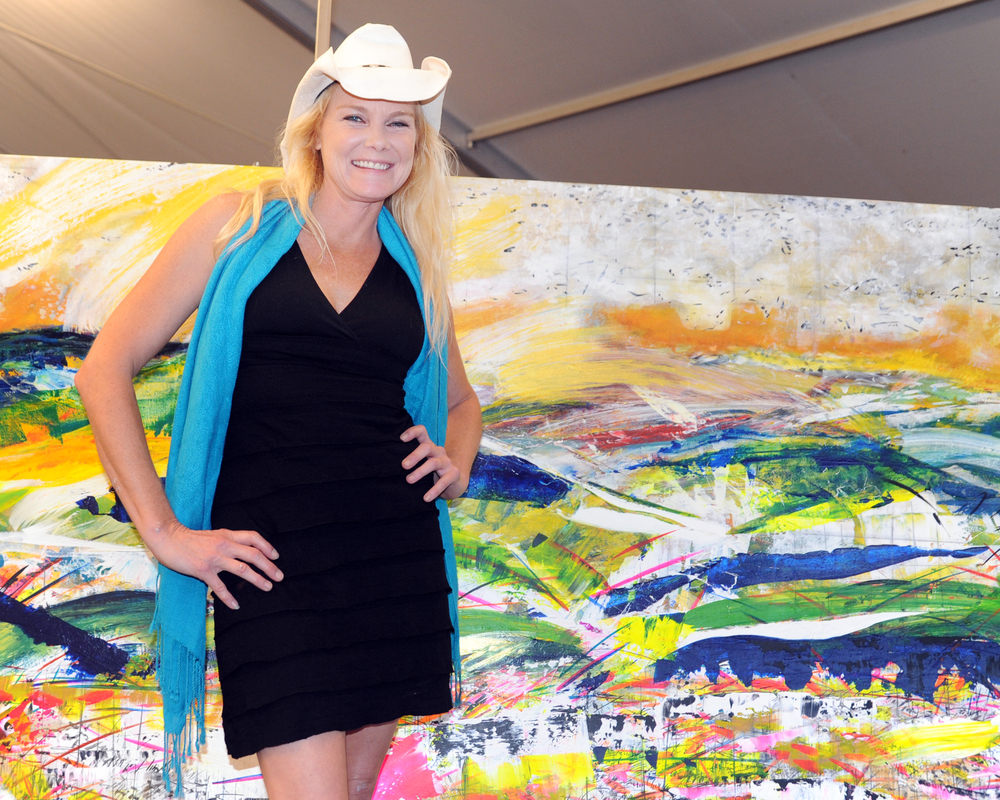 "Artist and VMFA Fellow Kendra Dawn Wadsworth in front of her original artwork: ""Symphonic Jubilation.""   Photo Credit: Paul Purpura."