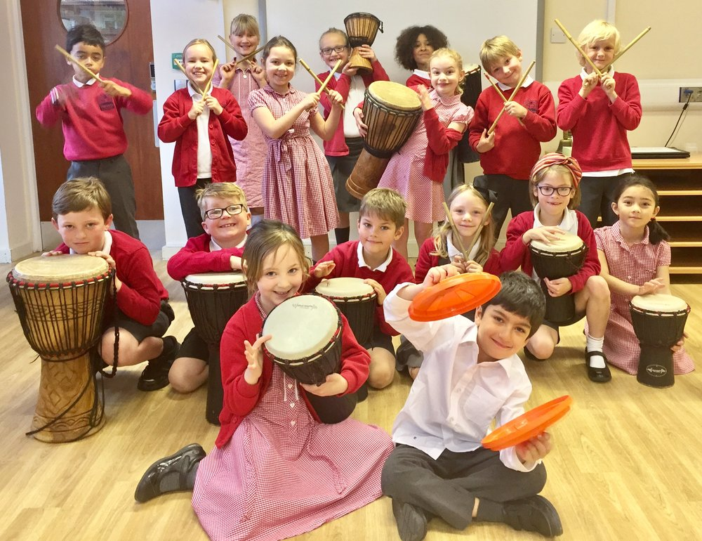 Music Themed Workshops for Primary Pupils. - Develop Confidence, Communication, Creativity, Concentration whilst learning to drum on anything and everything.