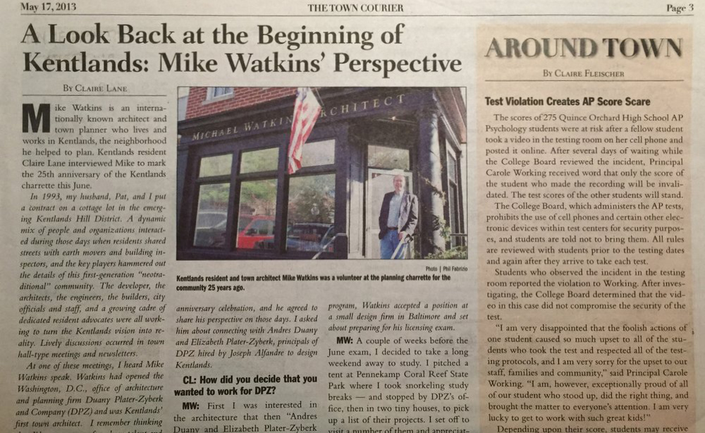 A Look Back at the Beginning of Kentlands: Mike Watkins Perspective