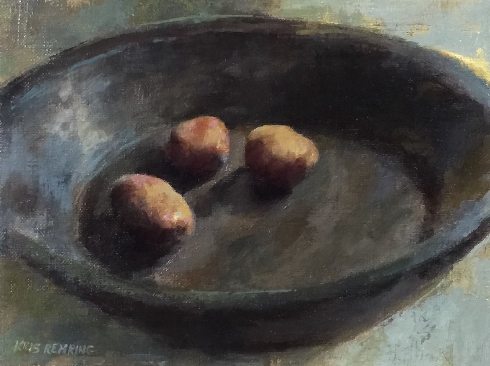 New Potatoes in Black Wooden Bowl