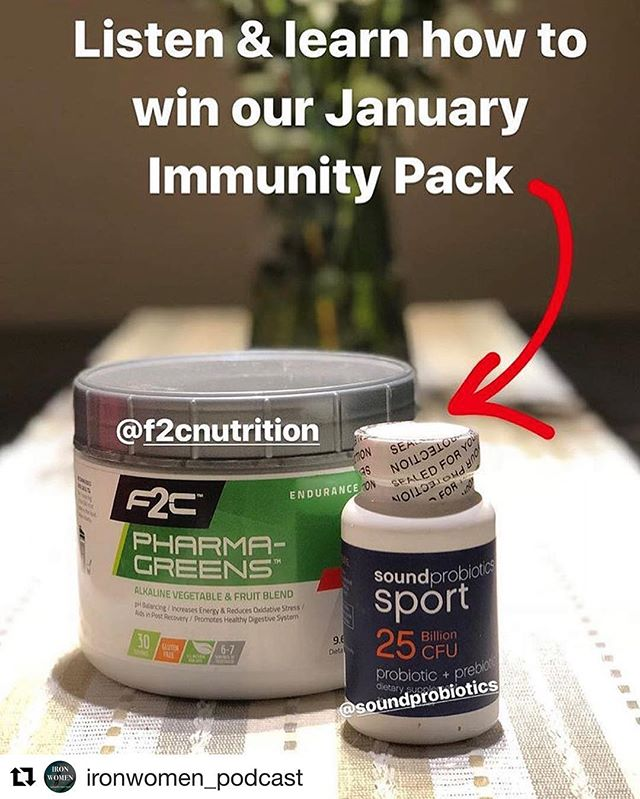 #Repost @ironwomen_podcast ・・・ Don't forget about our January GIVEAWAY, enter to win the @ironwomen_podcast immunity pack of @soundprobiotics and @f2cnutrition Pharma Greens!! Entering is easy - just email ironwomenpodcast@Gmail.com a mailbag question by January 31st and you are ENTERED!! . . . #livefeisty #ironwomen #strongwomen #tri #triathlon #triathlonwomen #guthealth #giveaway #thefeistylife