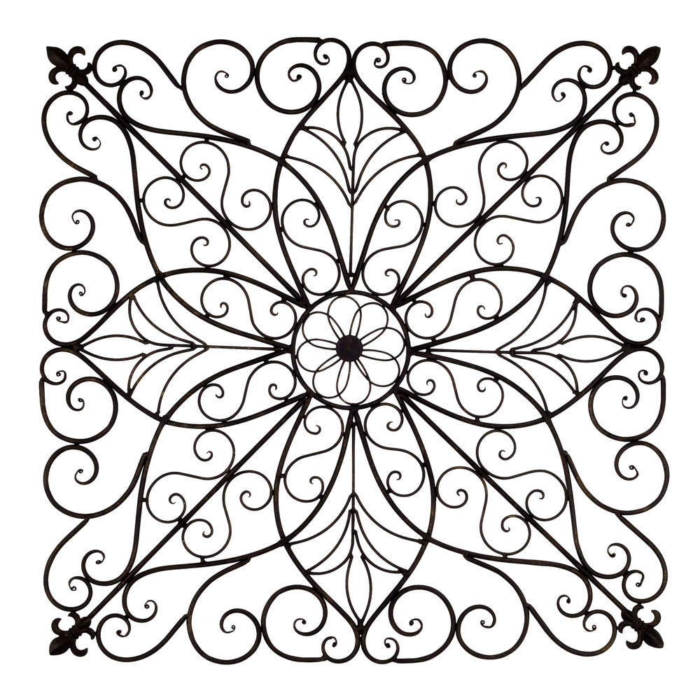 Square Grapevine Iron Wall Art Panel