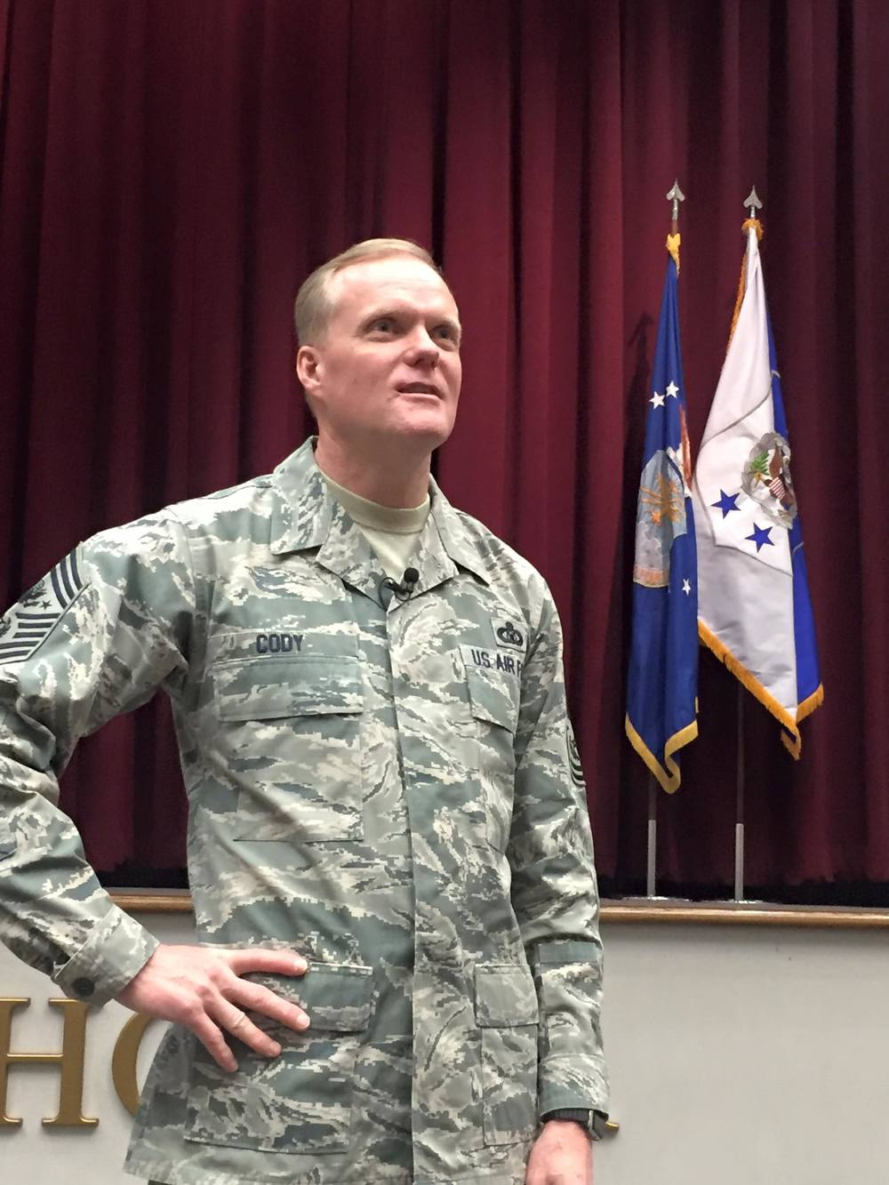 CMSAF Cody speaking for class 16-04, Maxwell AFB