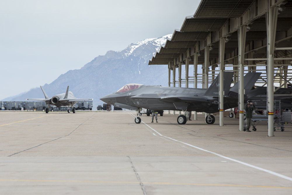 A U.S. F-35 taking off.  The  Air Force will deploy a few F-35s  for a long-planned training exercise in Europe soon. Source:  388 Fighter Wing ; Copyright Lockheed Martin.