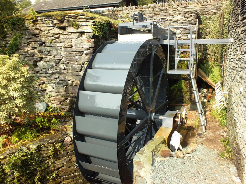 6kW electricity generating waterwheel installed at The Langdale Hotel and Spa in the English Lake District.