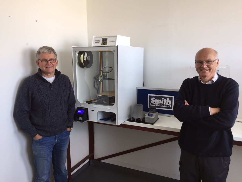 Designer, Brian Eaglestone and Managing Director, Rod Smith with a cabinet and air scrubber.