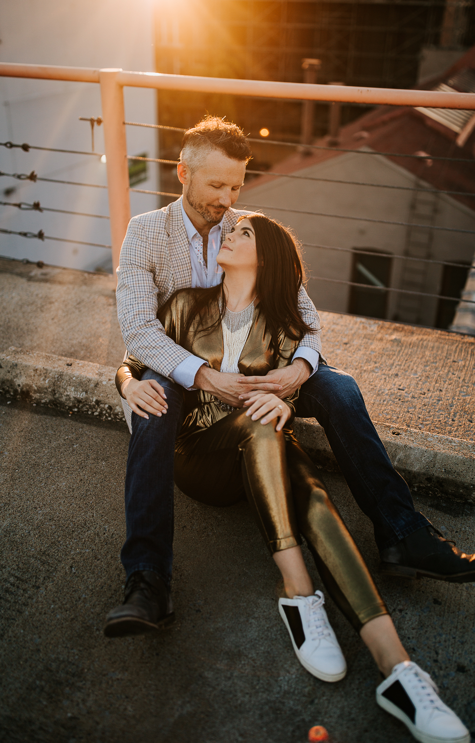 Memphis wedding photography, rooftop engagement session