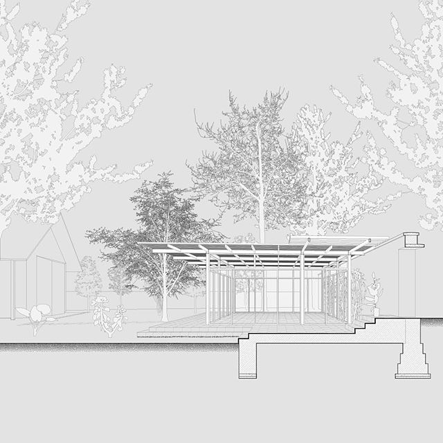 Sections through Kamara Projects' Garden Pavilion at the Early Childhood Center in Kathmandu, Nepal.  #section #perspective #preschool #pavilion #architecture #drawing #representation #kathmandu #nepal