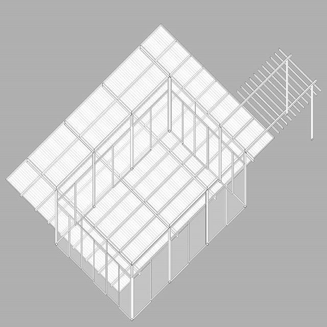Worm's eye plan oblique of Kamara Projects' Garden Pavilion at the Early Childhood Center in Kathmandu, Nepal.  #wormseye #plan #preschool #pavilion #architecture #drawing #representation #oblique  #kathmandu #nepal